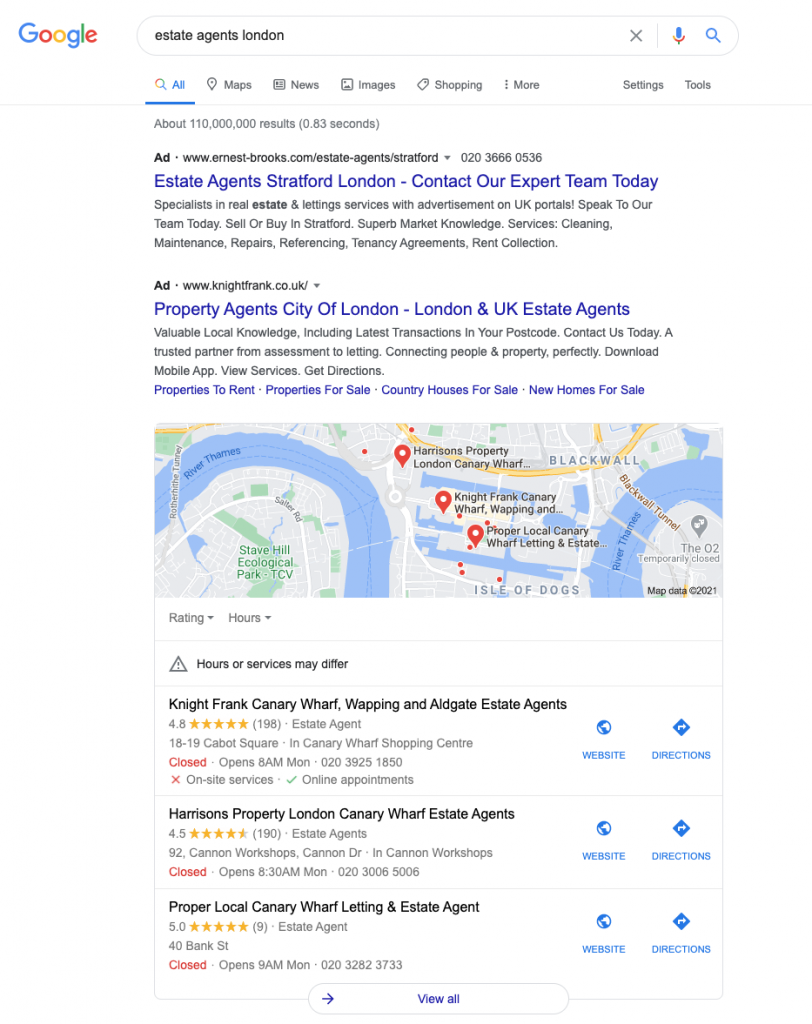 estate agents google my business